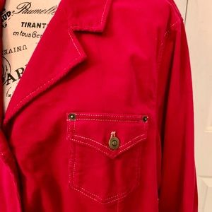 Darling red Denim & Co corduroy blazer